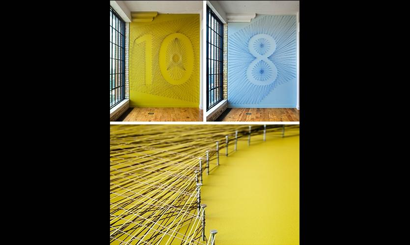 String art floor identifiers were created by local artist Danica Adler.