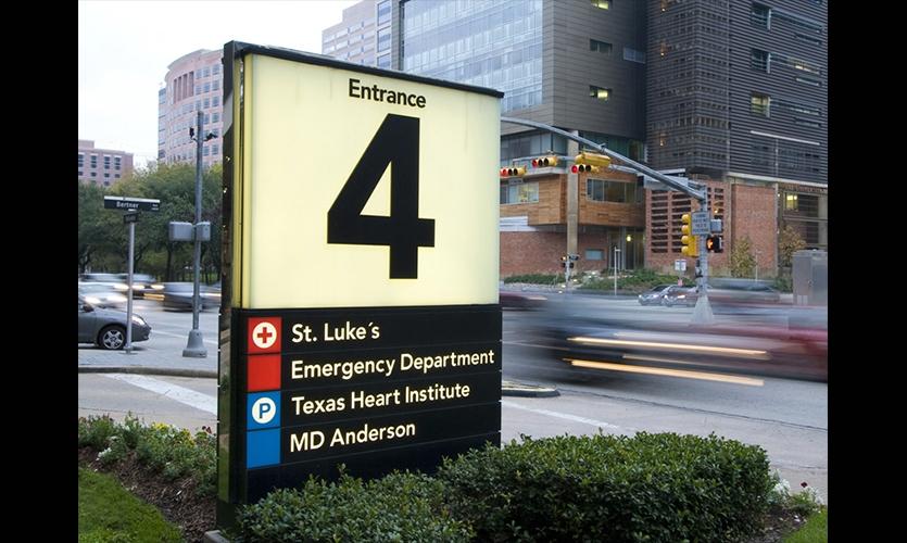 Entry Sign, Texas Medical Center Wayfinding Master Plan, fd2s Inc