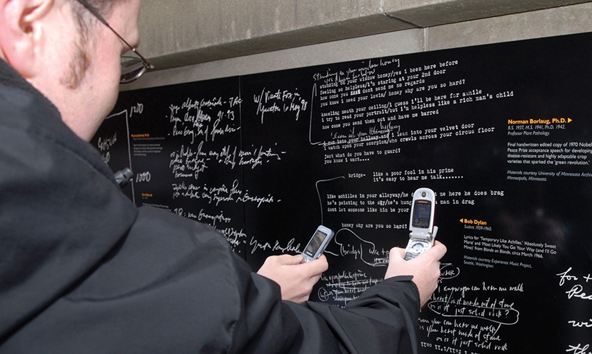 Taking Photos, Wall of Discovery, University of Minnesota, LA Ink