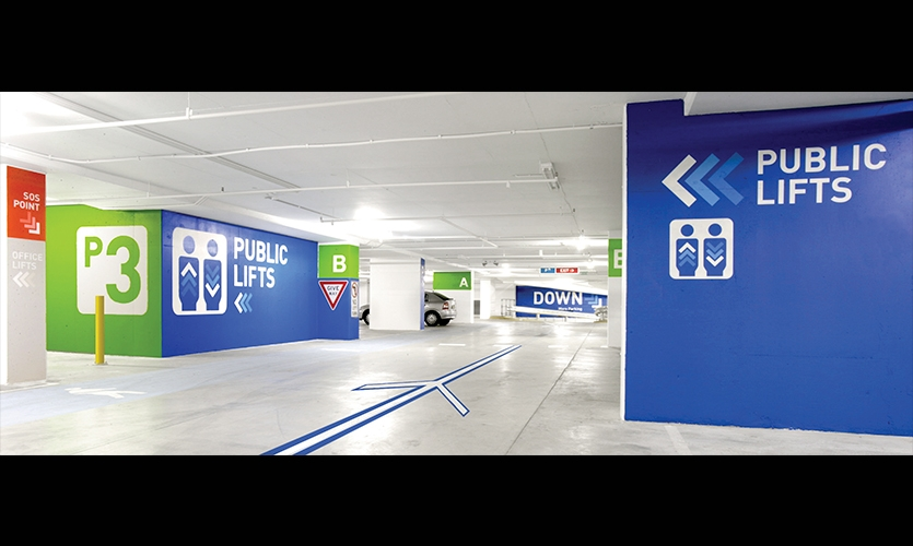 Public Lifts Graphics, World Square Carpark, Brookfield Multiplex, BrandCulture Communications