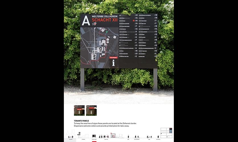 Tenant Panels, Zeche Zollverein Wayfinding, Landesentwicklungsgesellsutag (LEG Research and Development Company), F1RST DESIGN