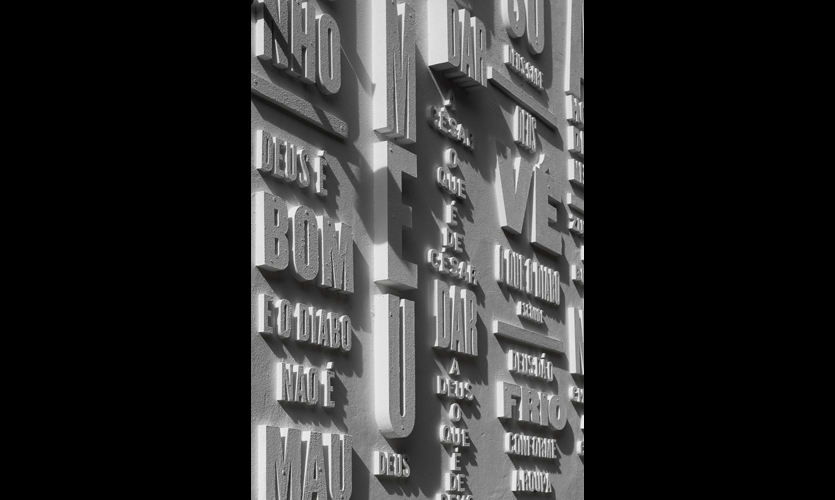 Everyday phrases related to God were rendered in 10cm to 100cm-deep letters built from Intasa MDF hydrofuge sheets, an environmentally friendly product recommended for moist environments.