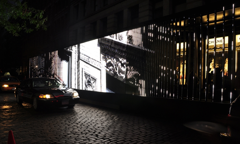 Vehicle Traffice Passing LED Display, Chanel Media Installation, Chanel, Apologue