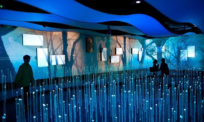 LED Rods from Floor, Dream Cube: 2010 World Expo Shanghai Corporate Pavilion, Shanghai Corporate Community, ESI Design