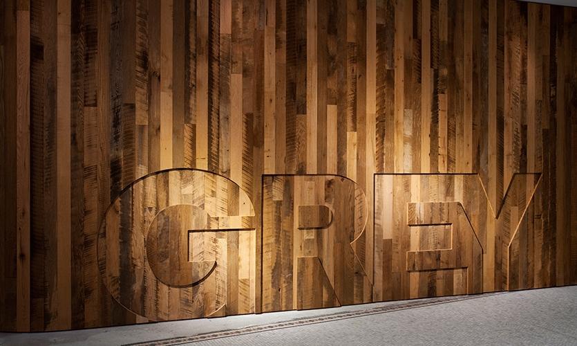 Logo in Wood, Grey Group, Pentagram