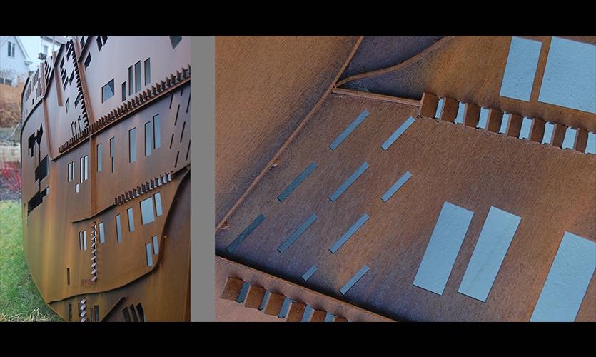 Steel Plate Structure, Monastery Street Park, South Side Slopes Neighborhood Association, Loysen + Kreuthmeier Architects