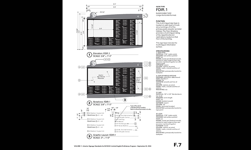 Plans, NYCHHC Interior Signage Standards, Hillier Environmental Graphic Design