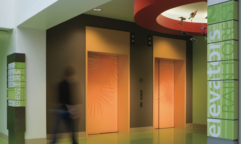 Elevator and Wayfinding Signage, Palmetto Health Children's Hospital Wayfinding and Graphics, Stanley Beaman & Sears