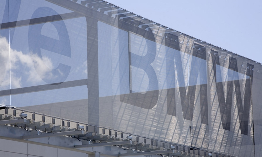 Transparency of Mesh Sign, Rallye BMW Facade, HLW International LLP