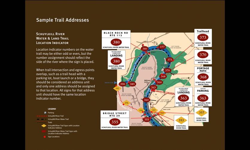 Sample Trail Addresses, Schuylkill River, Schuylkill River Greenway Association, Cloud Gehshan Associates