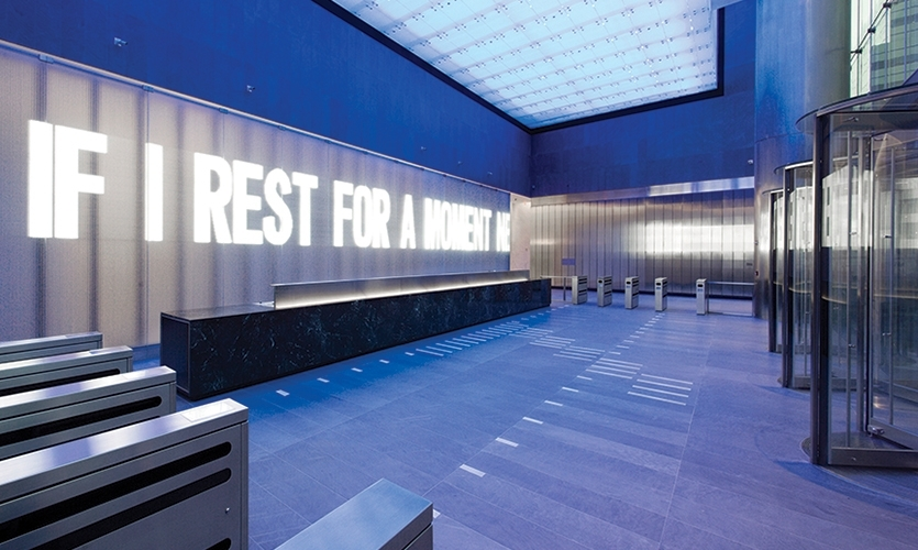 Artist Jenny Holzer was on the vanguard of using LED technology to broadcast words and ideas in public spaces. This 2006 project was for 7 World Trade Center.
