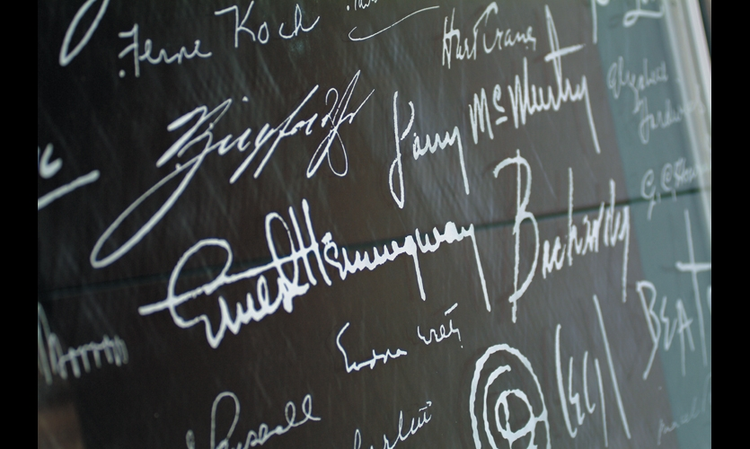 Signatures of the collection's contributors, including the likes of Ernest Hemingway, James Joyce, and other literary greats, were acid-etched on smaller glass panels.