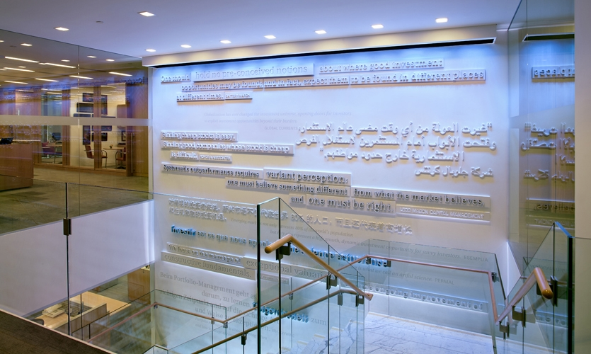 Raised Text on Wall, Branded Environment, Confidential financial services client, Ayers Saint Gross