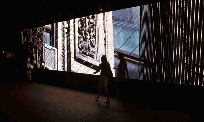 Pedestrians Passing LED Display, Chanel Media Installation, Chanel, Apologue