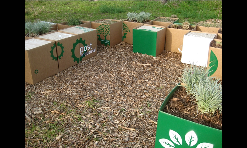 Biodegradable Planters, Dis(solve): The Japhet Creek Project, Greater East End Mgmt District, City of Houston Dept of Parks and Rec, Buffalo Bayou Partnership, Univ of Houston Studio Collaboration