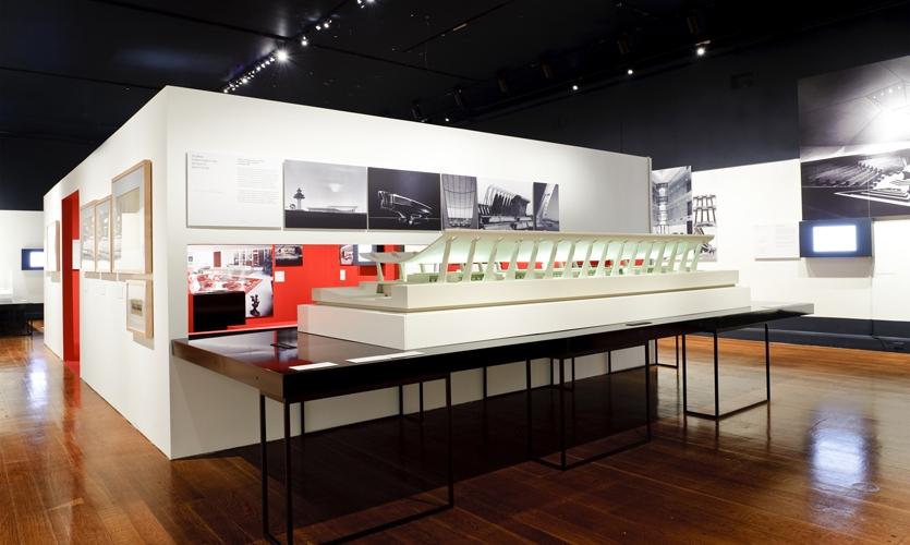 Exhibit with Model, Eero Saarinen: Shaping the Future, Museum of the City of New York, Cooper Joseph Studio