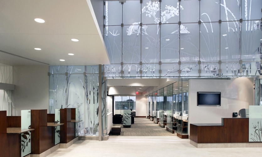 Glass Wall Indoors, First National Bank, Metro Crossing Branch, RDG Planning & Design