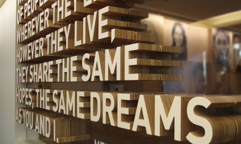 Exhibits at the Bill and Melinda Gates Foundation Visitor Center focus on its world-changing mission.