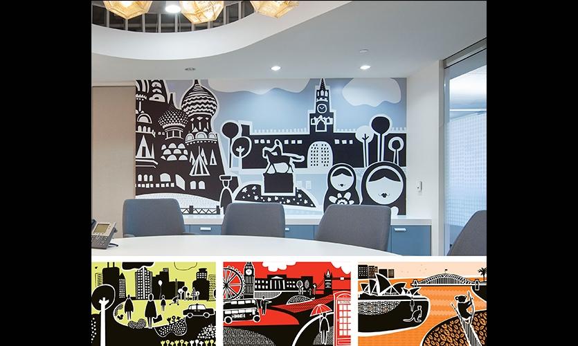 Wall murals, Olson, Gensler