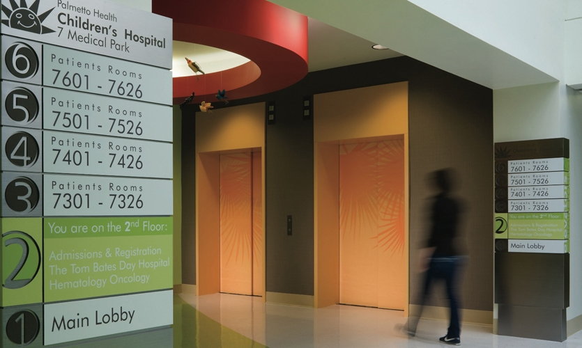 Elevator Signage, Palmetto Health Children's Hospital Wayfinding and Graphics, Stanley Beaman & Sears
