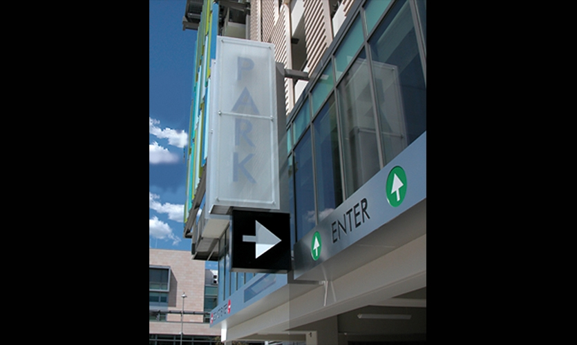 Directional Arrow, Santa Monica Civic Center Parking Structure Signage, Forest City Residential West, Electroland, LLC