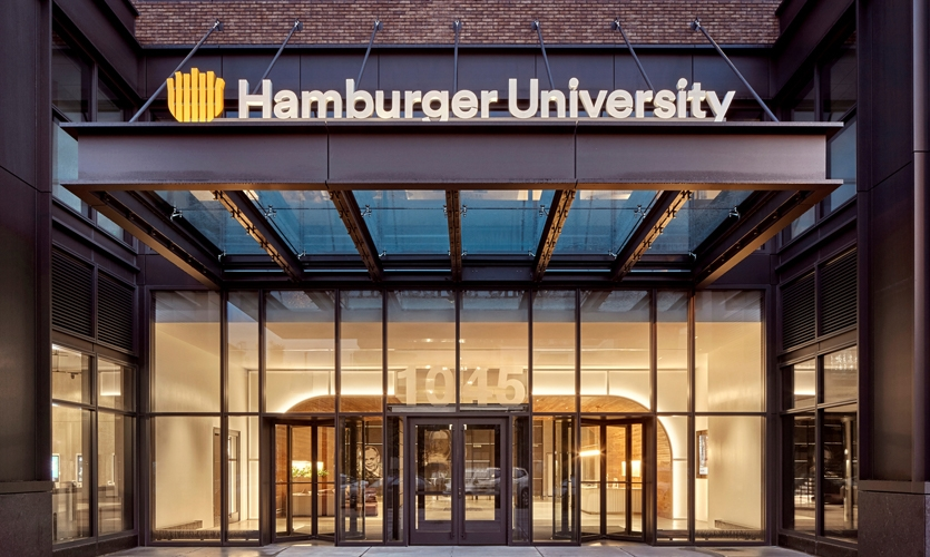 The Hamburger University sign located on busy Randolph Street is one of the most Instagrammed moments of the headquarters experience