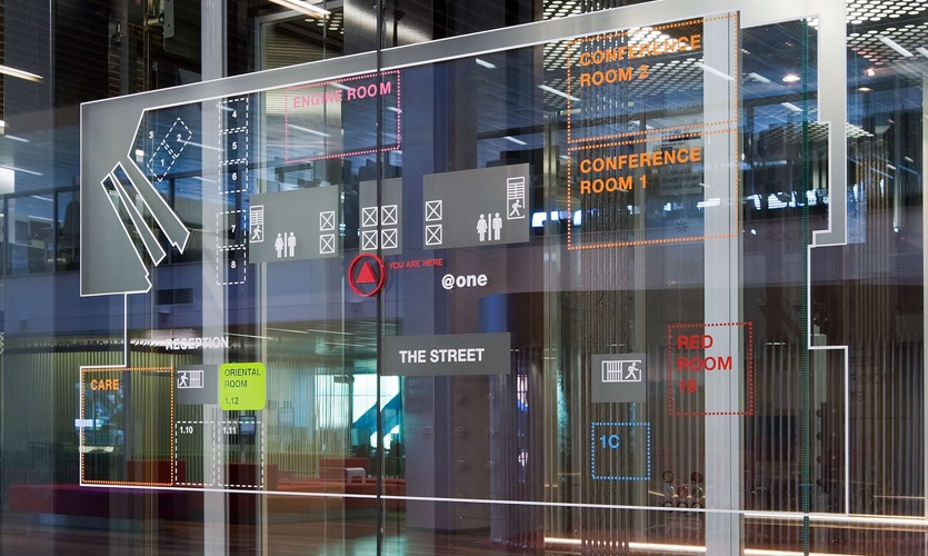 Graphics on Glass, Macquarie Bank Ltd. Headquarters, Macquarie Bank Ltd./Clive Wilkinson Architects, EGG Office