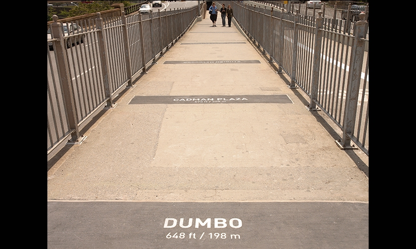 Ground Signage, Brooklyn Bridge Pedestrian Improvements, Dumbo Improvement District, emphasis design