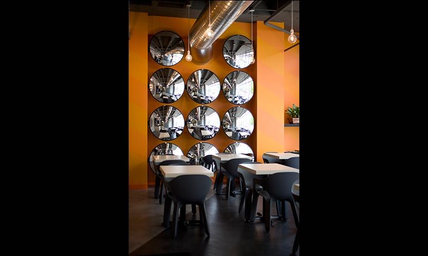 Parking Lot Mirrors on Wall, B&T Pizza, Kuhlmann Leavitt