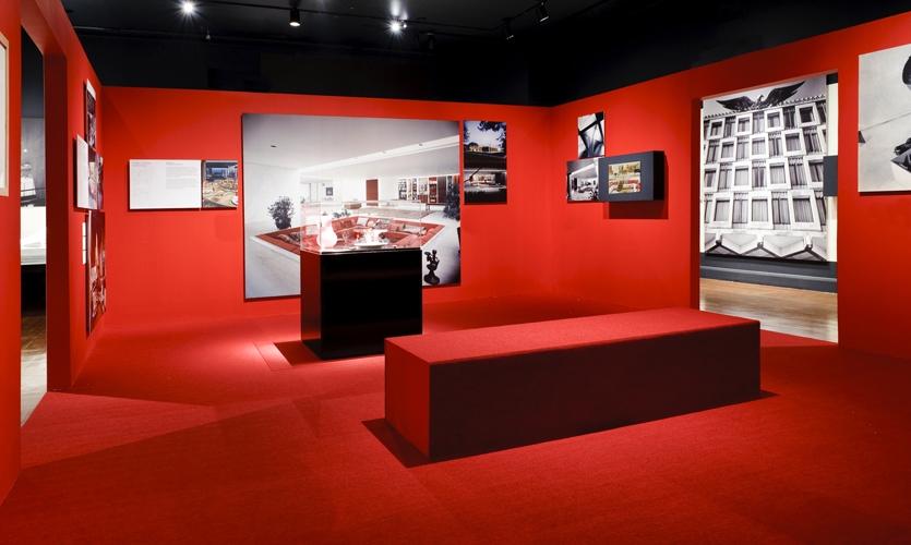 Red Exhibit Area, Eero Saarinen: Shaping the Future, Museum of the City of New York, Cooper Joseph Studio