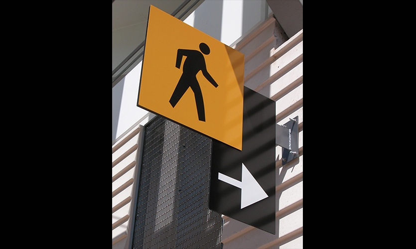 Pedestrian Sign and Arrow, Santa Monica Civic Center Parking Structure Signage, Forest City Residential West, Electroland, LLC