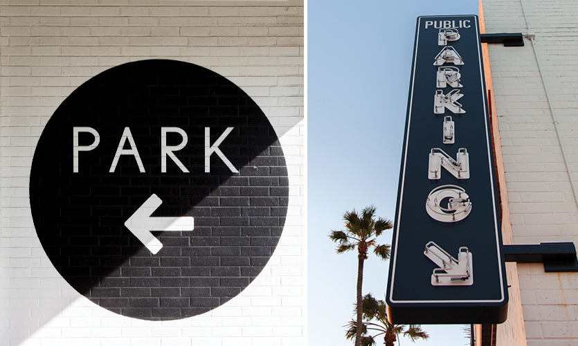 Parking identity signage helps draw visitors driving into the garage, which was previously underutilized and largely unused.