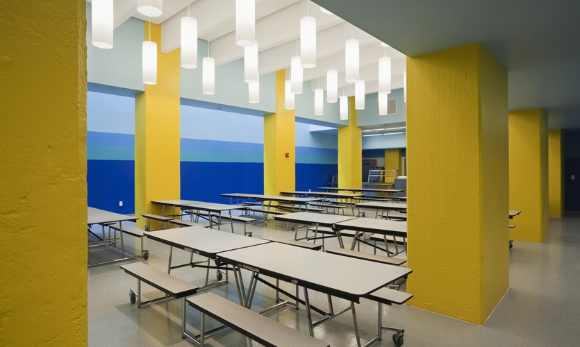 Cafeteria Lighting and Colors, Achievement First Endeavor Middle School, Achievement First, Pentagram