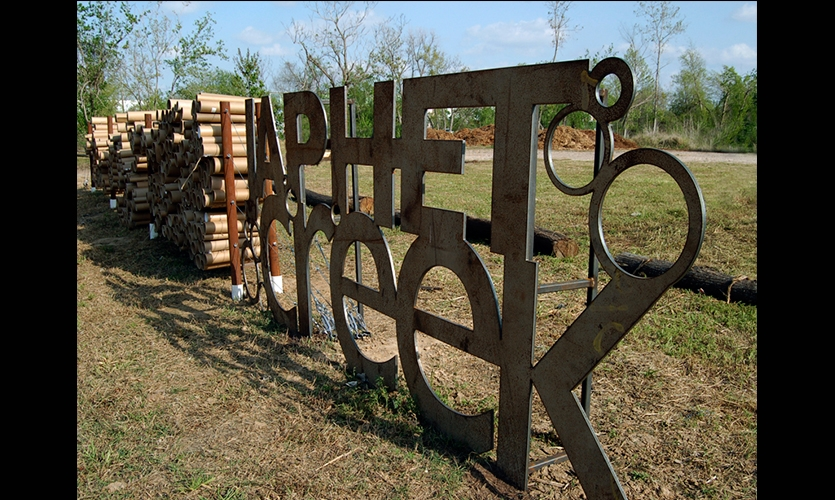 Steel Lettering, Dis(solve): The Japhet Creek Project, Greater East End Mgmt District, City of Houston Dept of Parks and Rec, Buffalo Bayou Partnership, Univ of Houston Studio Collaboration