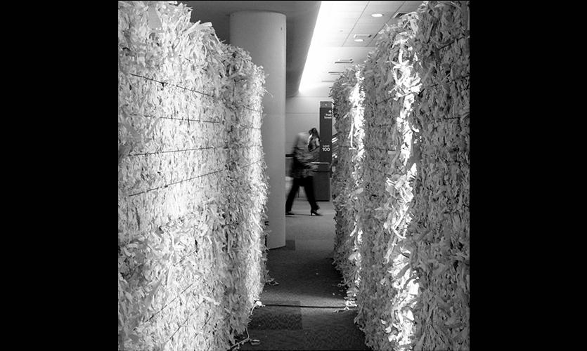 Gap between Paper Bales, NeoCon East Installation, Merchandise Mart, Gensler