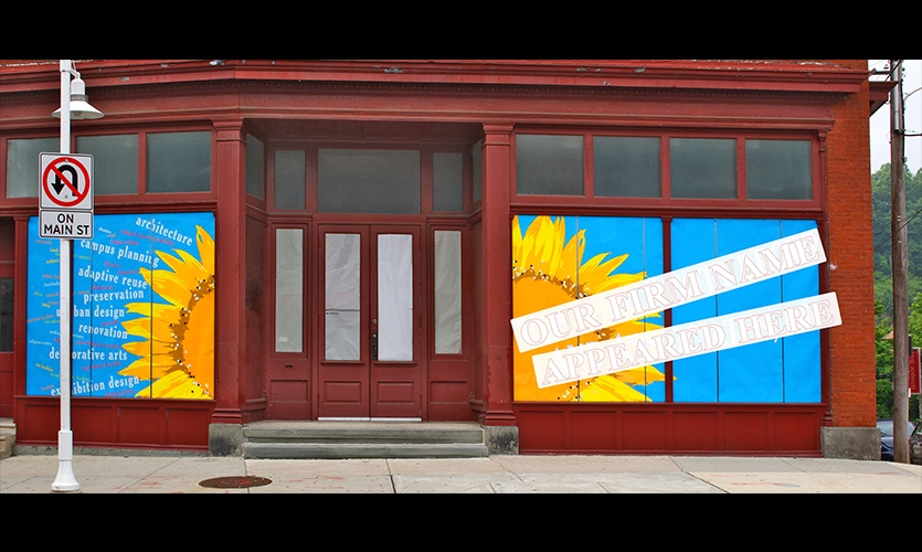 Sunflower Building Exterior, Venturi Scott Brown Window Displays, Venturi, Scott Brown and Associates