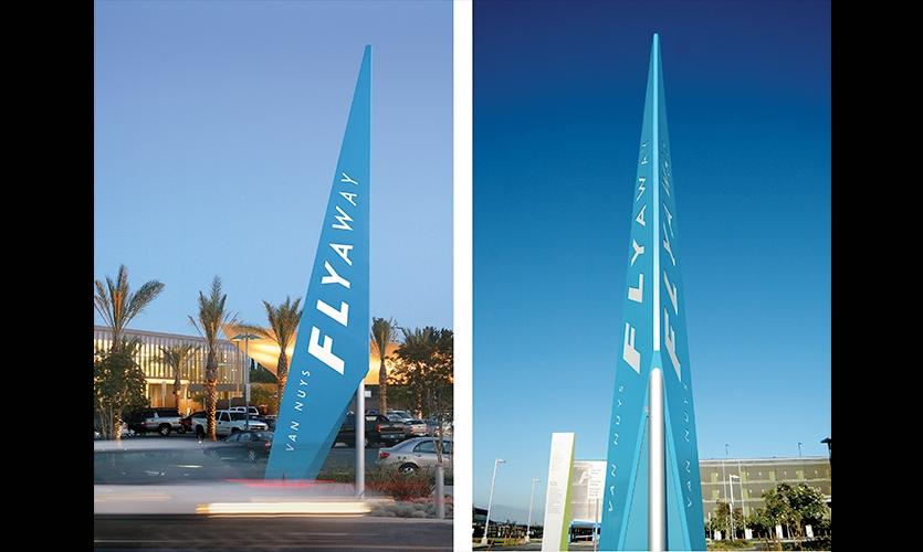 Exterior Signage, Van Nuys Flyaway, Los Angeles World Airports, Sussman/Prejza & Company