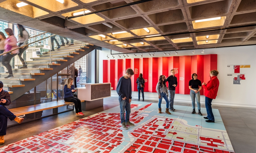 The floor map was designed to bookend the experience by orienting visitors to their immediate surroundings.