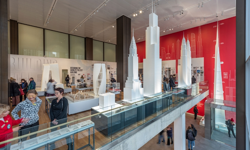 A host of other large models of the world's most iconic skyscrapers were expertly arranged within view of the windows, adding visual interest from across the street.