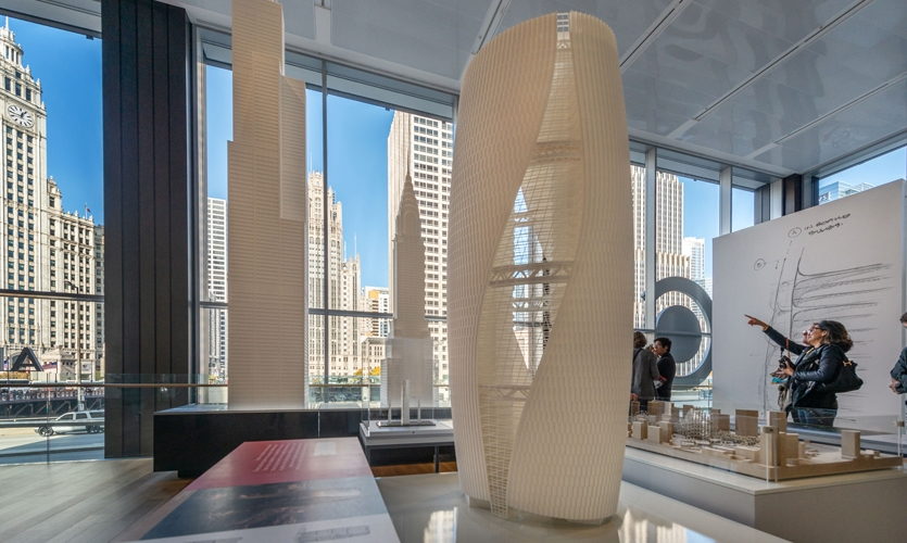 """To tell the story of Chicago architecture, the team decided on """"live, work, build, imagine"""" as the theme that tied the galleries' content together."""