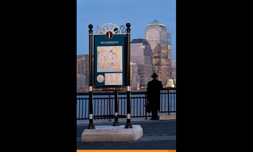 MERJE created the wayfinding system for Jersey City, N.J. The system breaks the city into districts with distinct identities.