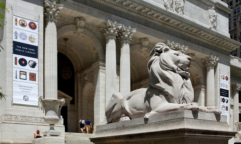 Outdoor Banners, Celebrating 100 Years, New York Public Library, Pentagram Design