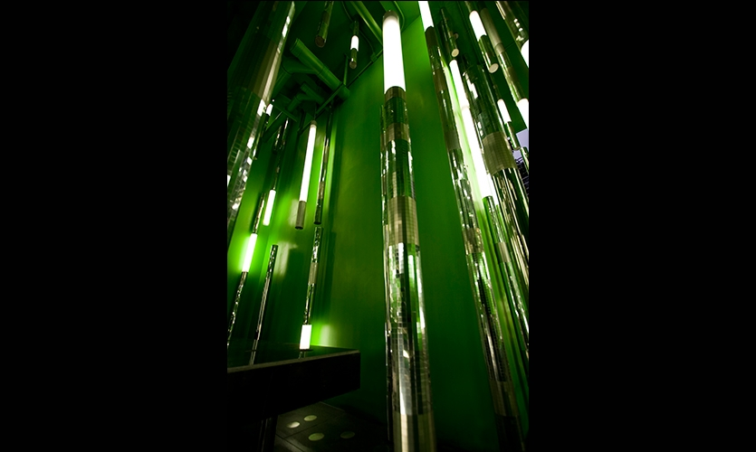 Cylindrical Lighting Fixtures, Mellon Town Residential Lobby, Gemdale Corp., One Plus Partnership