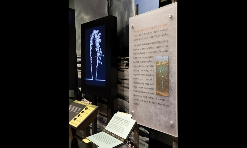 To make the exhibits accessible to non-English speaking visitors, the text from primary displays is summarized on pole-mounted flipbooks that provide the information in Spanish, French, German, and Japanese.