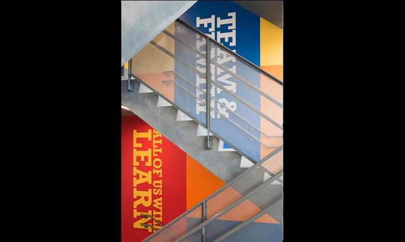 Motivational Slogans in Stairwell, Achievement First Endeavor Middle School, Achievement First, Pentagram
