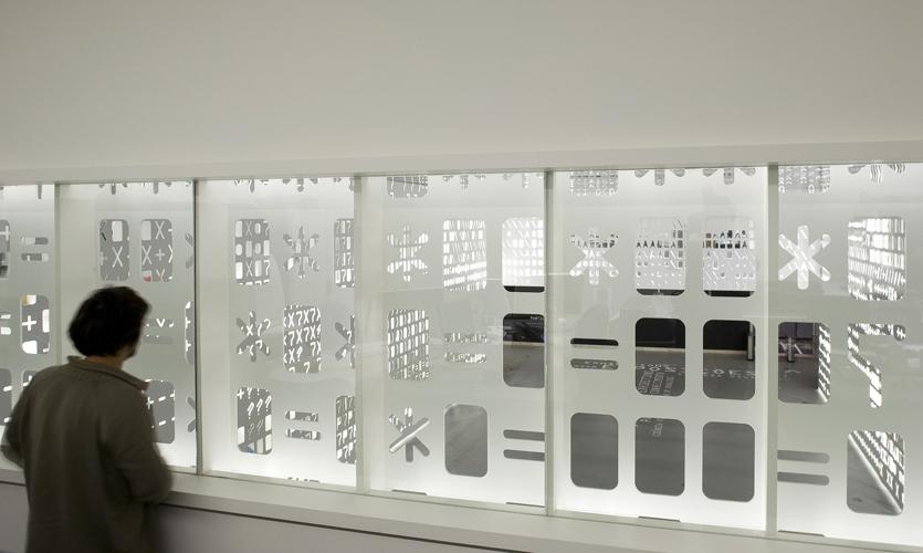 Window Graphics, Skin,  Pavilion of Knowledge, P-06 Atelier, JLCG Architects