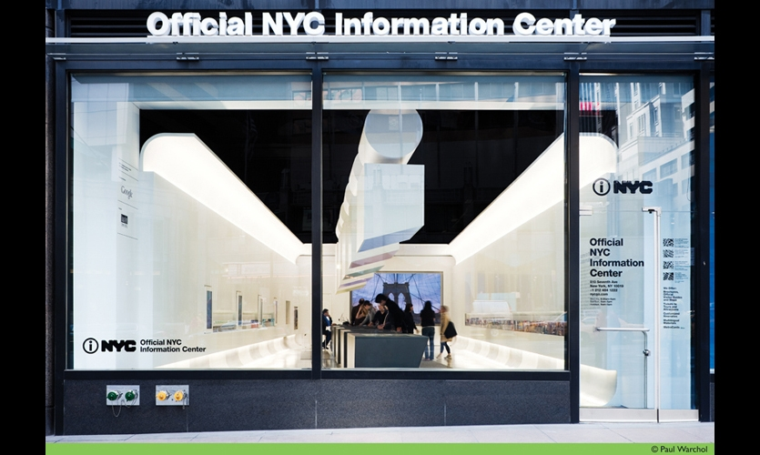 The dramatically renovated Official NYC Information Center is a high-tech launching pad for many of the city's 47 million annual visitors. (Photo: Paul Warchol)