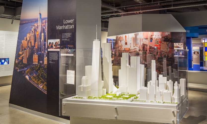 The 'Rebuilding' area focuses on the reconstruction of Lower Manhattan and the resiliency of New Yorkers following the 9/11 attacks.