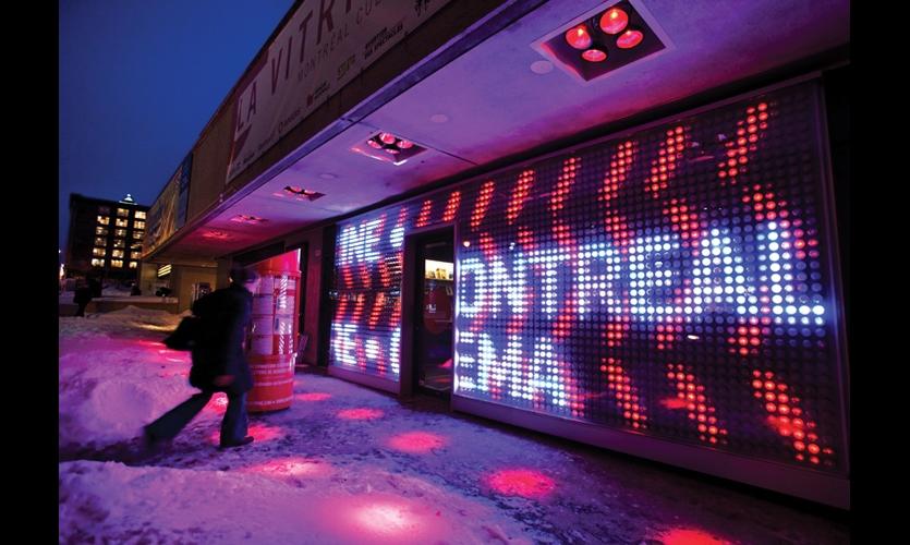 La Vitrine, the ticket venue at Places des Arts on Sainte-Catherine Street, sports an interactive LED installation by lighting designer Axel Morganthaler. (Photo: Martine Doyon, Partenariat du Quartier des Spectacles)
