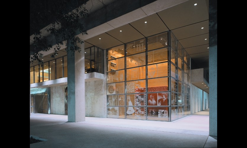 At night, the etched-glass windows become giant image lanterns. Skyline Design created the panels using its eco-etching process.